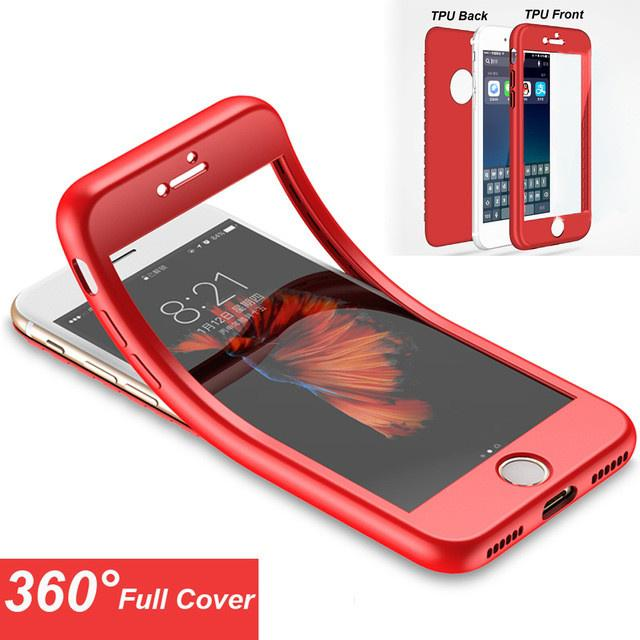 Soft 360 Degree Full Body Coverage TPU Silicone Case For iPhone X 7 Plus 5 5S SE 6 6S 8 Plus Cover