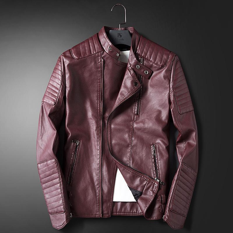 Mens Faux Leather Motorcycle Jackets Fleeced Lined Warm Biker Lapel Work M-4XL L