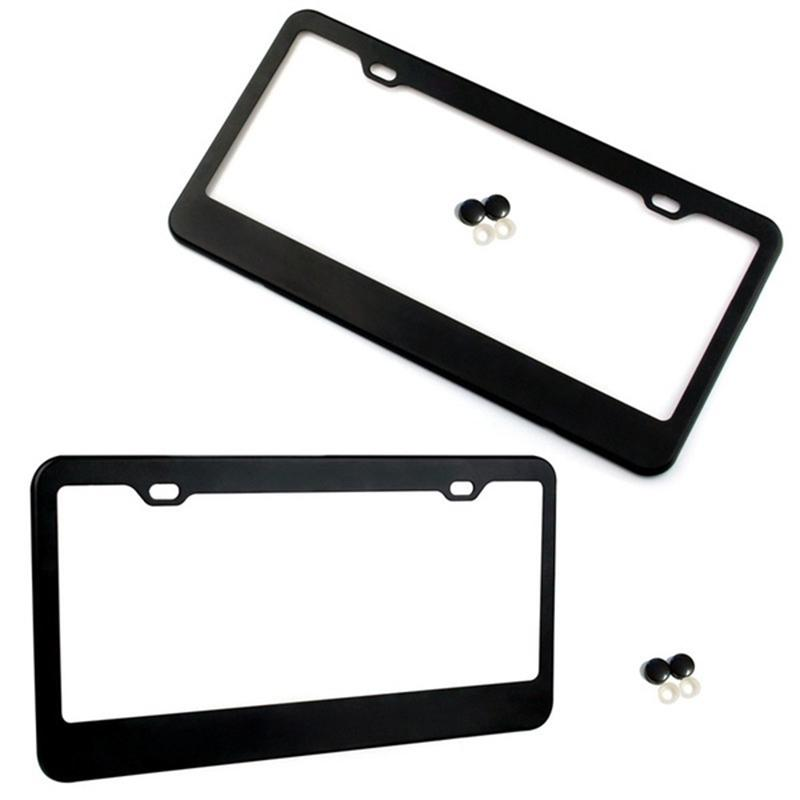 2PSC License Plate Frames Newest Matte Black Stainless Steel Car Licence Plate Covers with Black Screw Caps Applicable to CA US Standard Car Accessory Fit JEEP