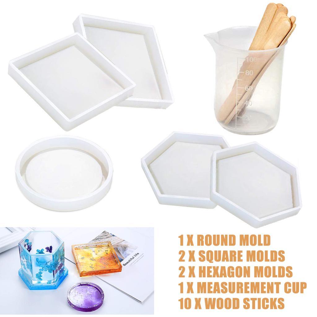 DIY Silicone Mold Hexagon Round Heart Tea Coaster Making Epoxy Resin Molds Tools