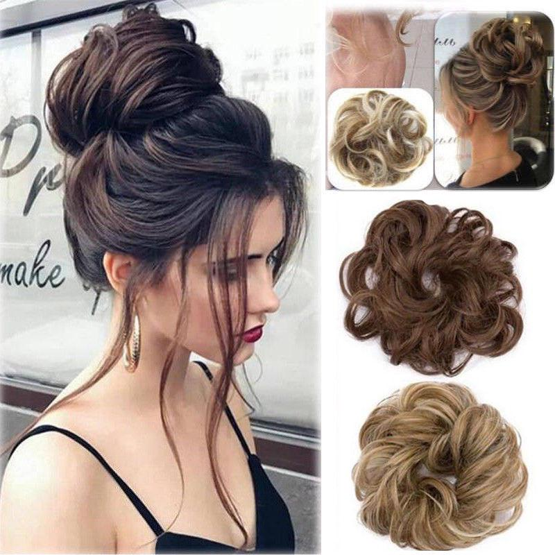 Womens Girls Messy Hair Scrunchies Natural Easy Bun Hair Piece Up Do Extension