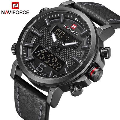 2020 NAVIFORCE New Men's Fashion Sport Watch Men Leather Waterproof Quartz Watches Male Date LED Analog Clock Relogio Masculino