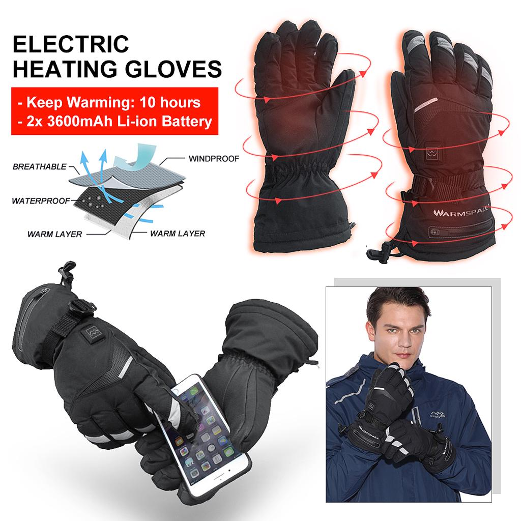 2x Winter Motorcycle Full Finger Gloves Touch Screen Thermal Ski Windproof Black