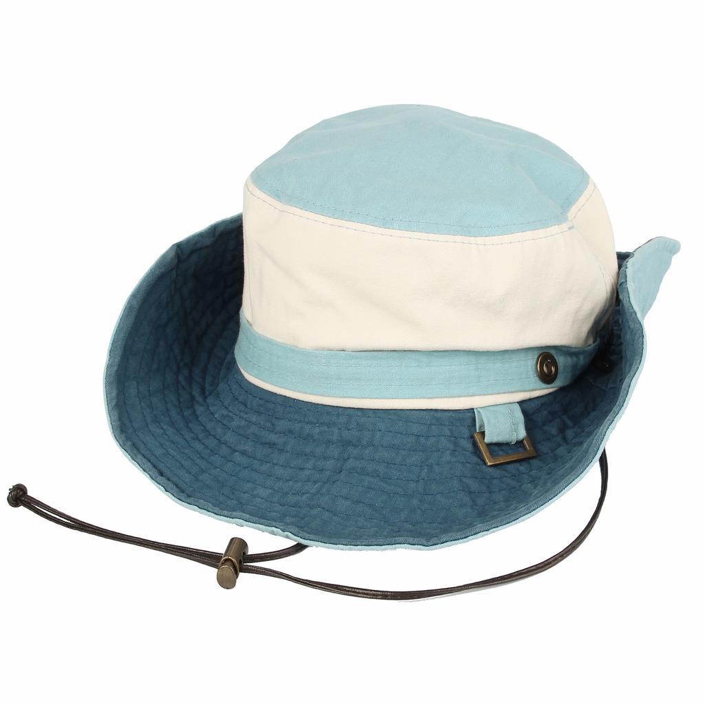 Men Summer Mesh Panama Hat Big Brim Beach Sun Fedora Cap Turquoise Rivets Band