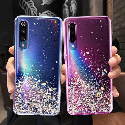 Bling Glitter Star Crystal Clear Slim Soft TPU Bumper Phone Case For iPhone Samsung Galaxy Huawei Xiaomi Redmi