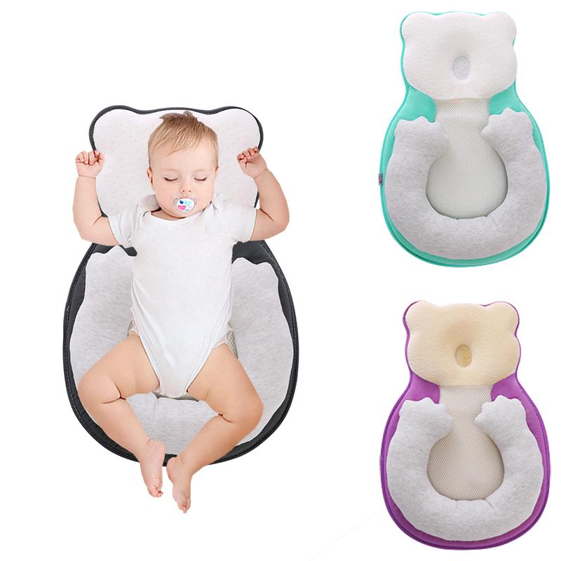 Soft Newborn Baby Infant Cotton Pillow Positioner Prevent Flat Head Anti Roll