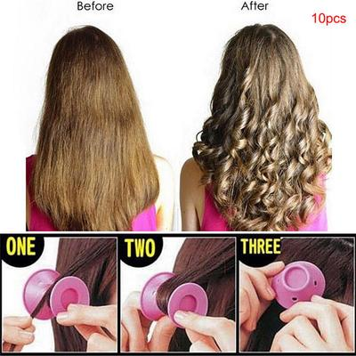 10pcs Beauty Women Roll Hair Maker Curlers Roller Soft Silicone Diy
