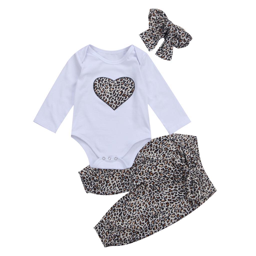 Newborn Infant Girl Fly Sleeve Denim Romper Bodysuit Covers High Waist Leopard Pants Pant Headband 3PCS Style Girls Clothes Full Celestial Satellite Gift