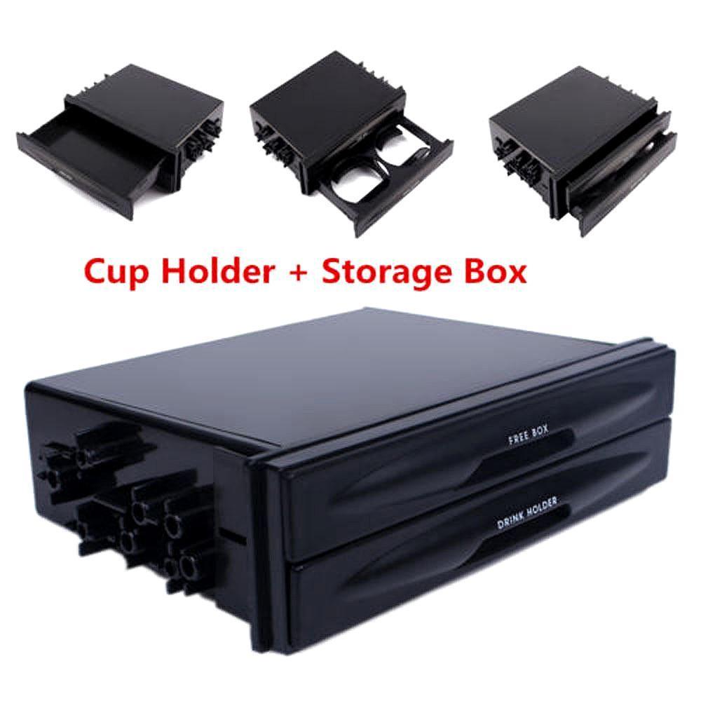 Universal Car Dash Trim Double Din Radio Pocket Kit Drink Cup Holder Storage Box
