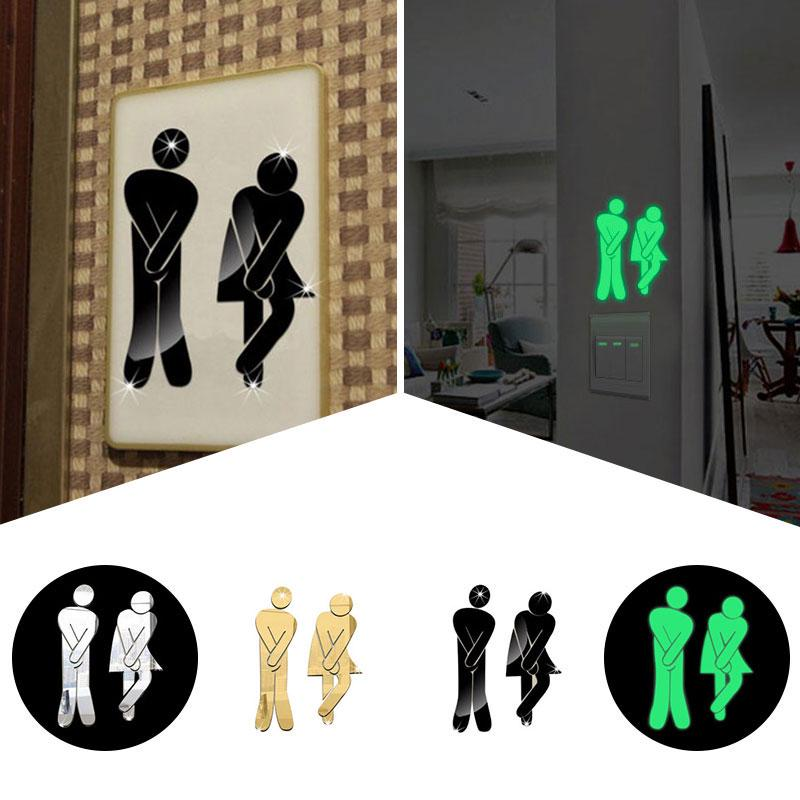 Toilet Room Sign Decorative Bathroom Sticker Sign For Hotel Bar Restaurant 3d Removable Mirror Wall Stickers Bedroom Home Decor Soft And Light Home & Garden