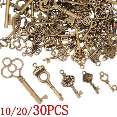 Antique Bronze Tibetan Key Charms 30mm 4 Charms SALE