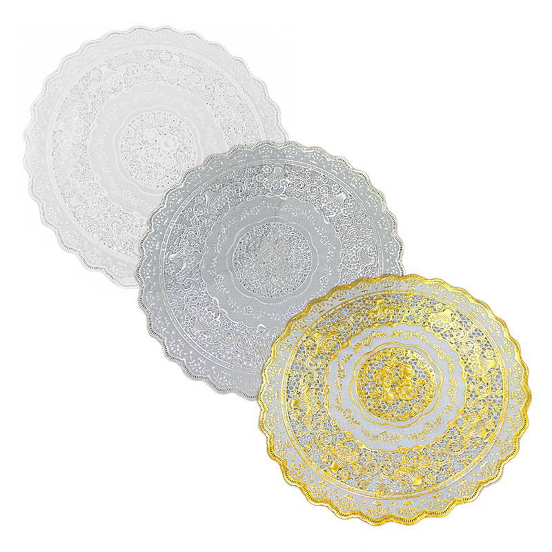 Waterproof Lace  Table Mat Gold Round Table Mat Lace Doily Placemat Round Retro