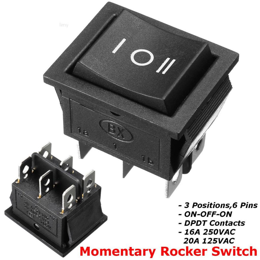 6A 250 VAC 2 Pins Black Square Rocker Switch Button Car Van Boat Switches