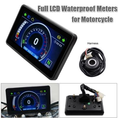 Universal Motorcycle Digital Gauge Speedometer Tachometer Odometer LCD Display 11000RPM KMH//MPH Instrument Cluster 12V