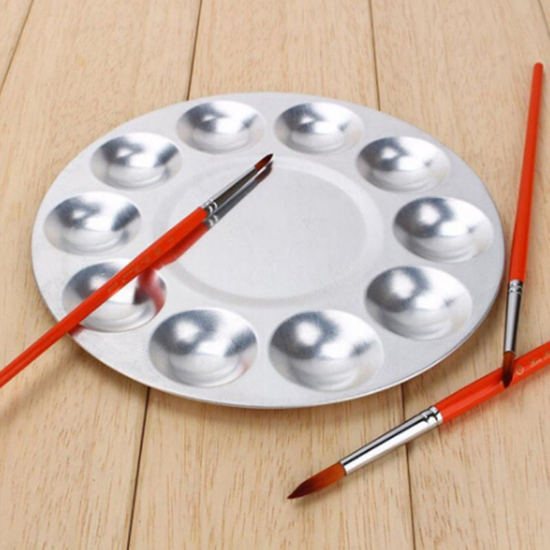 Practical Aluminum Round Oil Painting Palette Color Mixing Plate with 10 Grooves