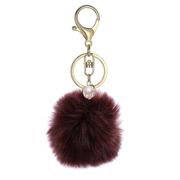 Pompon Keychain Moelleux Fourrure Synthétique Ball Femmes Sac à main pendentifs porte-clés Bijoux 8 cm