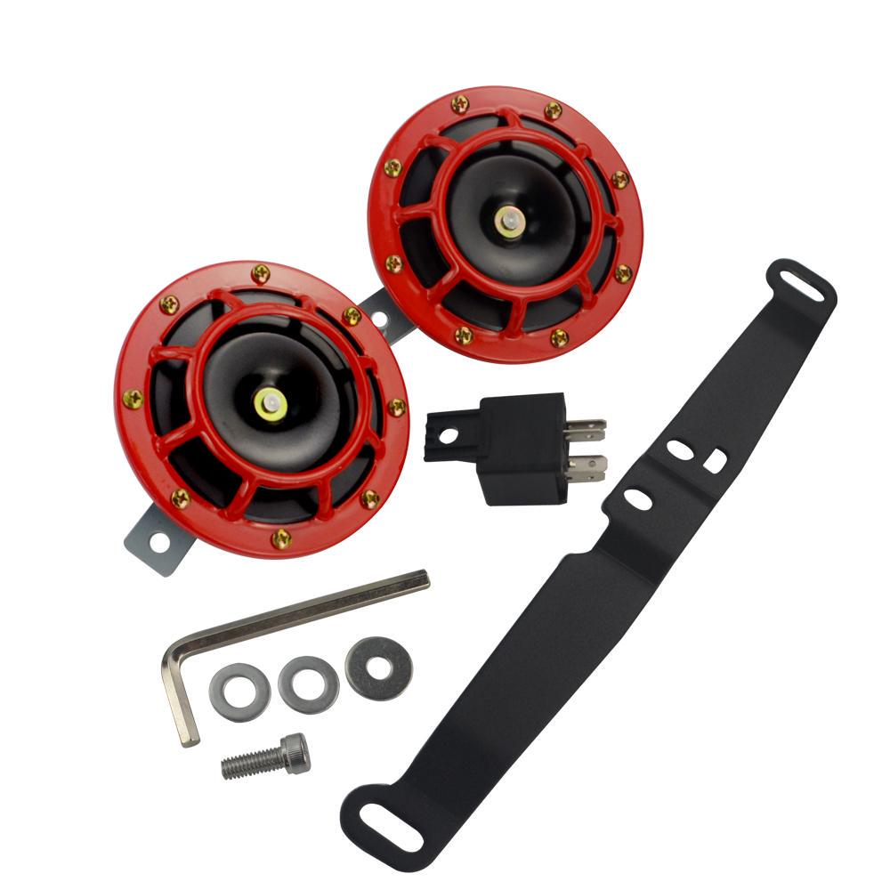 PQYRACING Universal Supertone 12V 118DB High Tone//Low Elecric Tone Twin Horn Kit with Red Protective Grill 2pcs Set