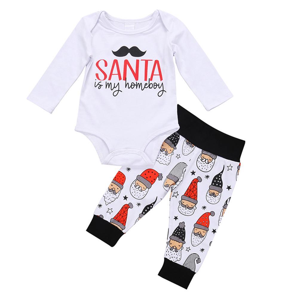 Unisex Baby Christmas Outfits Clothes Rompers Bodysuit 2Pcs Set T-Shirt+Pants