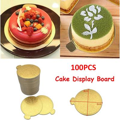 100pcs Gold Round Mousse Cake Dish Boards Tray Wedding Birthday Pastry Decor XDU