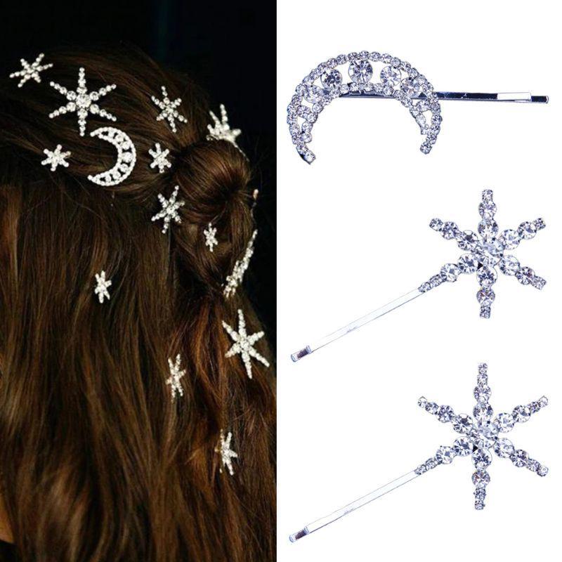 2pcs Hair Pins Moon Star Rhinestone Vintage Bobby Pins Hair Clips for Women Girl