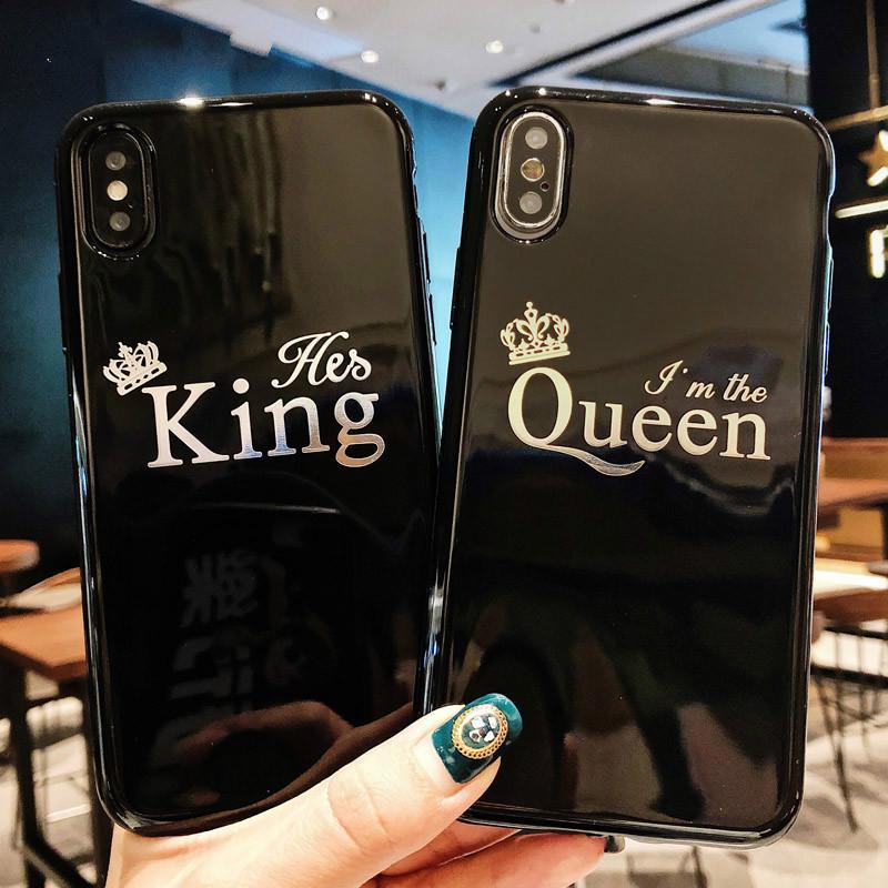 Мультфильм Корона телефон случай для iPhone X 8 7 6 6s плюс письмо Король Королева обратно крышку мягкой случаев ТПУ фото