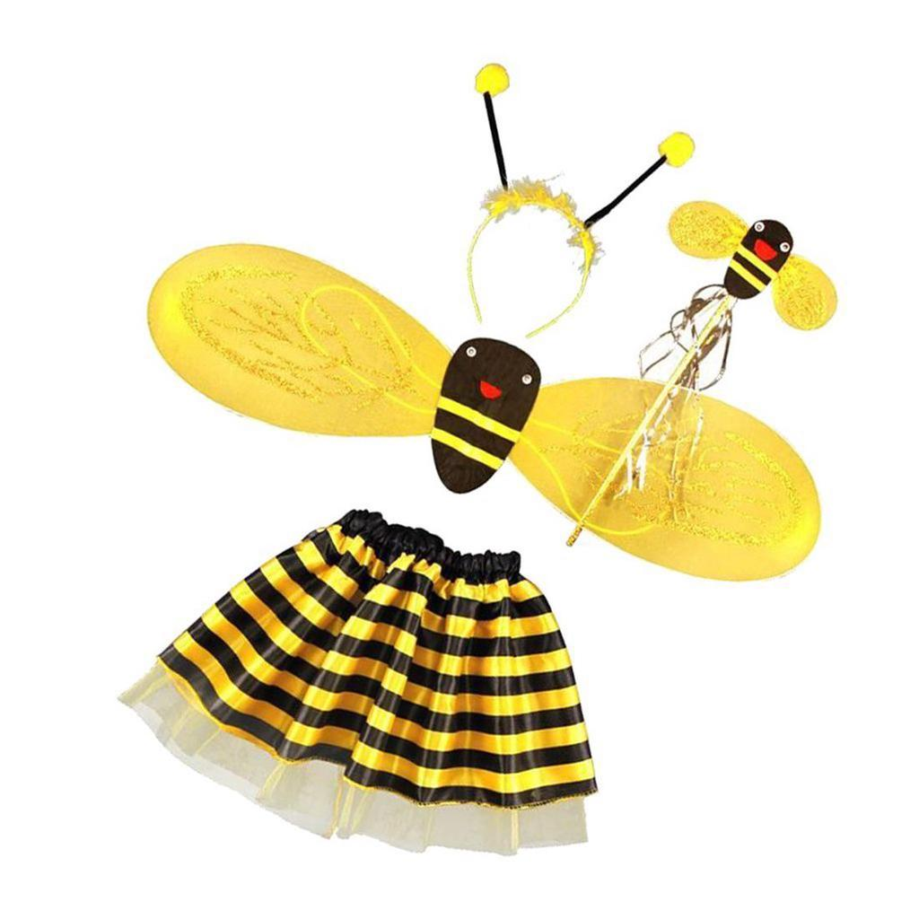 4Pc YELLOW KIDS BEE BUMBLEBEE WINGS WAND HEADBAND DRESS UP FANCY DRESS PARTY