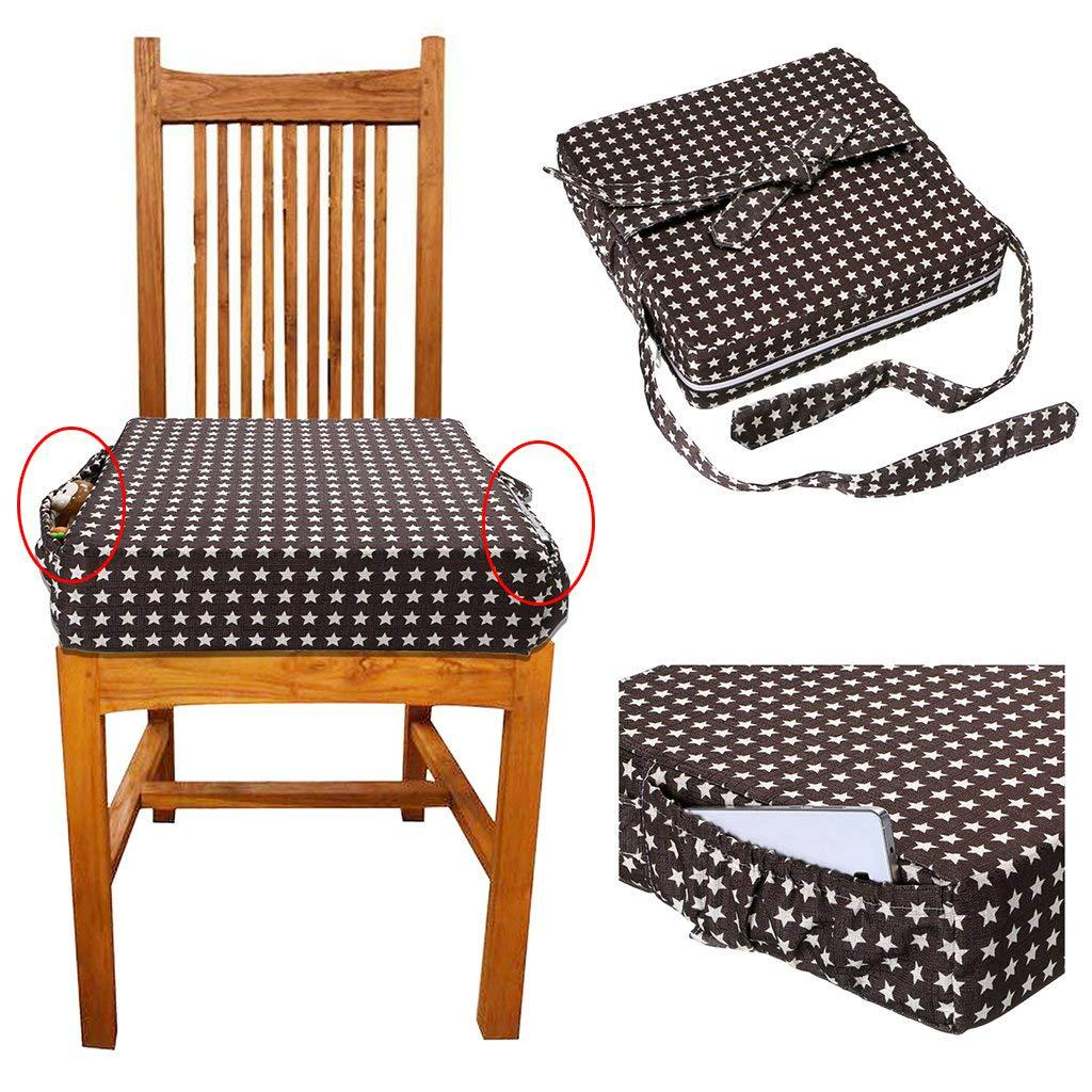 Dining Chair Booster Seat Dismountable Adjustable Heightening Cushion with Straps for Baby Infant Kids Children Toddler Grey