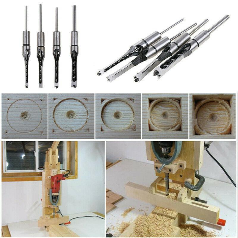 4PCS Square Hole Saw Drill Bit Auger Mortising Chisel Carve Woodwork Tools Steel