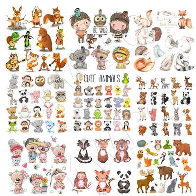 Baby Shirt Iron On Patches Animal Parches Iron On Heat Transfer DIY Stickers For Dolls Clothes