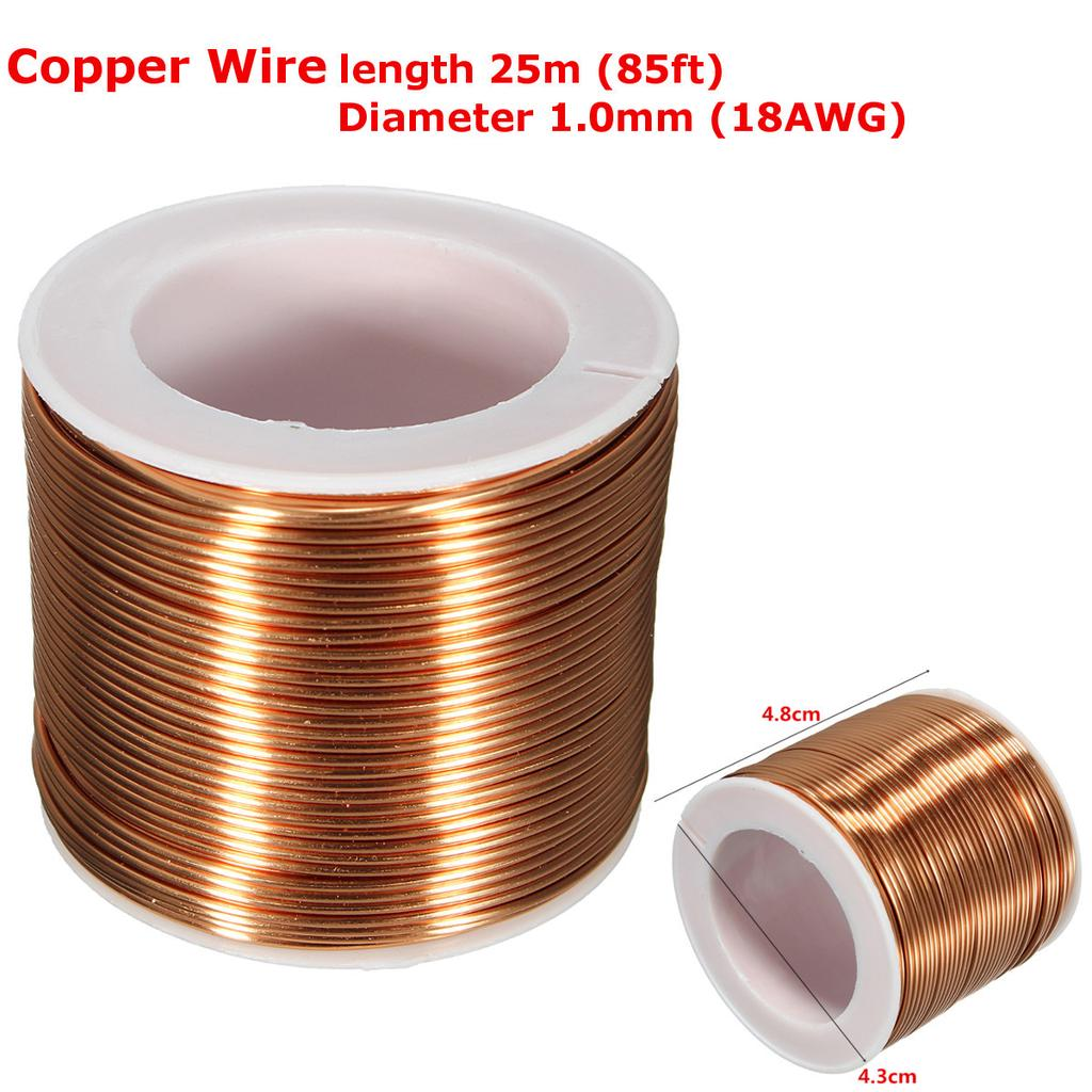 SPOOL COPPER WIRE 1.0mm,18GA,25m,85ft ENAMELED COPPER coil,Magnet ...