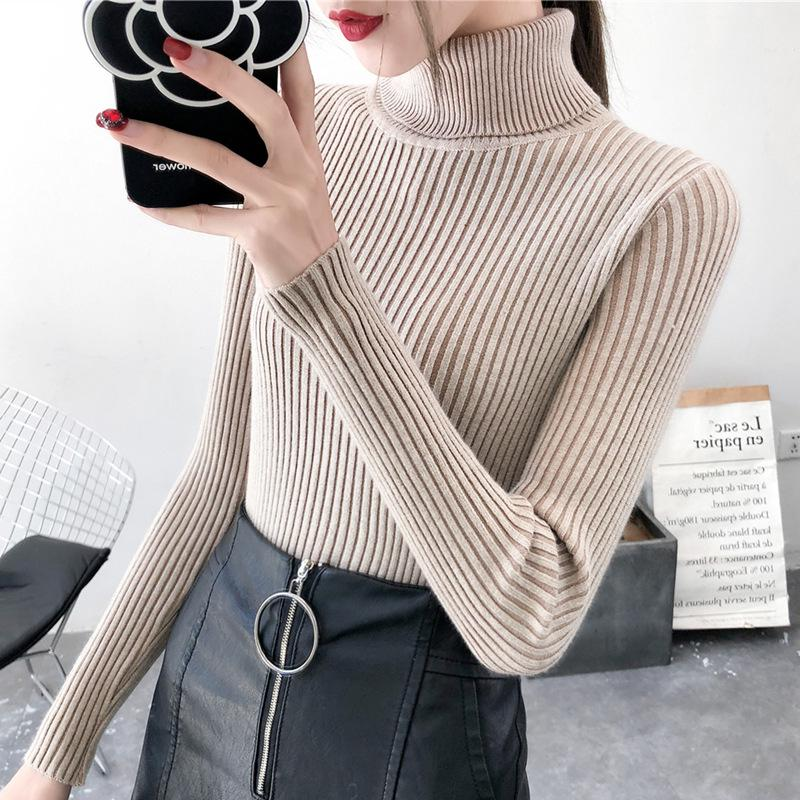 Winter Women Turtleneck Sweater Long Sleeve Knitted Sweaters Female Jumper Oversized Sweaters