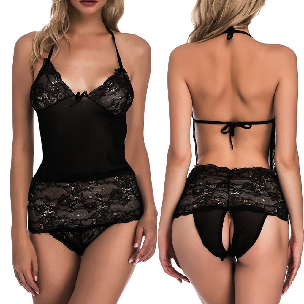 Women/'s Middle Waist Elastic Transparent Temptation Seamless Open Crotch Briefs