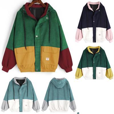 88a8d2395d Women Long Sleeve Corduroy Patchwork Oversize Jacket Windbreaker Coat  Overcoat