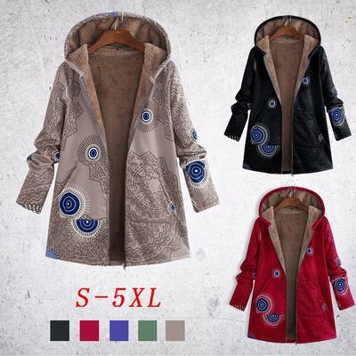 Womens Hooded Jackets Faux Fur Fleece Winter Warm Coats with Zipper Leopard Print Loose Plush Outwear