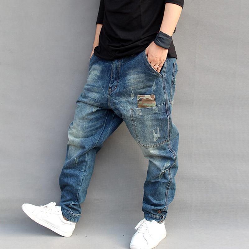 a5da0c418d De los hombres pantalones vaqueros más elástico tamaño Harem cónico suelto  algodón del dril de algodón transpirable Jogger holgados casuales - comprar  a ...