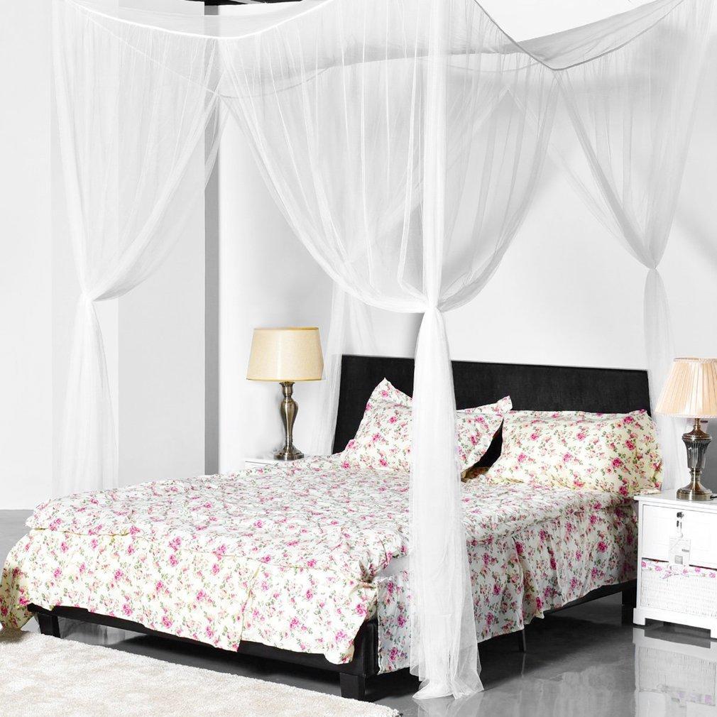 Super tamaño cuatro esquinas mosquitero cama dosel decoración del ...