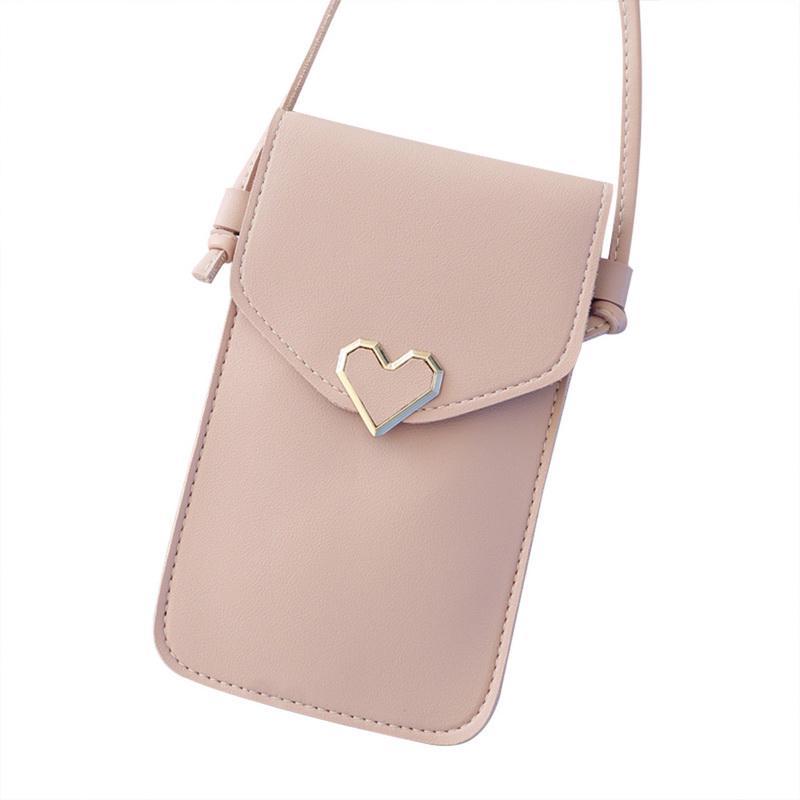Women/'s mini mobile phone shoulder bag small shoulder bag transparent touch scre