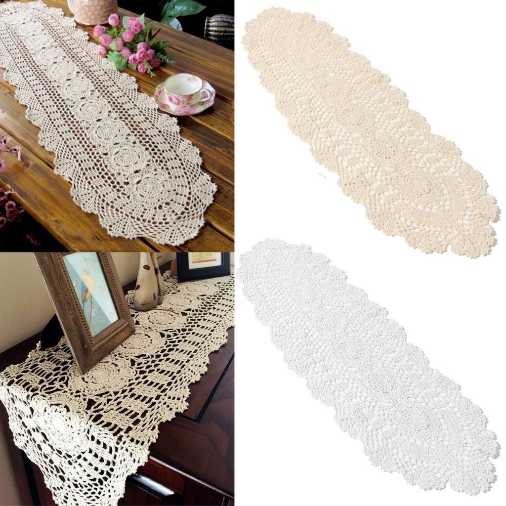Camino de mesa hecho a mano Vintage Crochet cordón hueco algodón ...