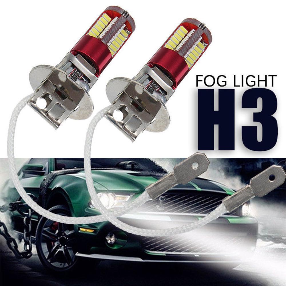 2x H3 4014 57-SMD 4014 LED Car Fog Light Lamp Bulb 6000K Bright White DC 12V