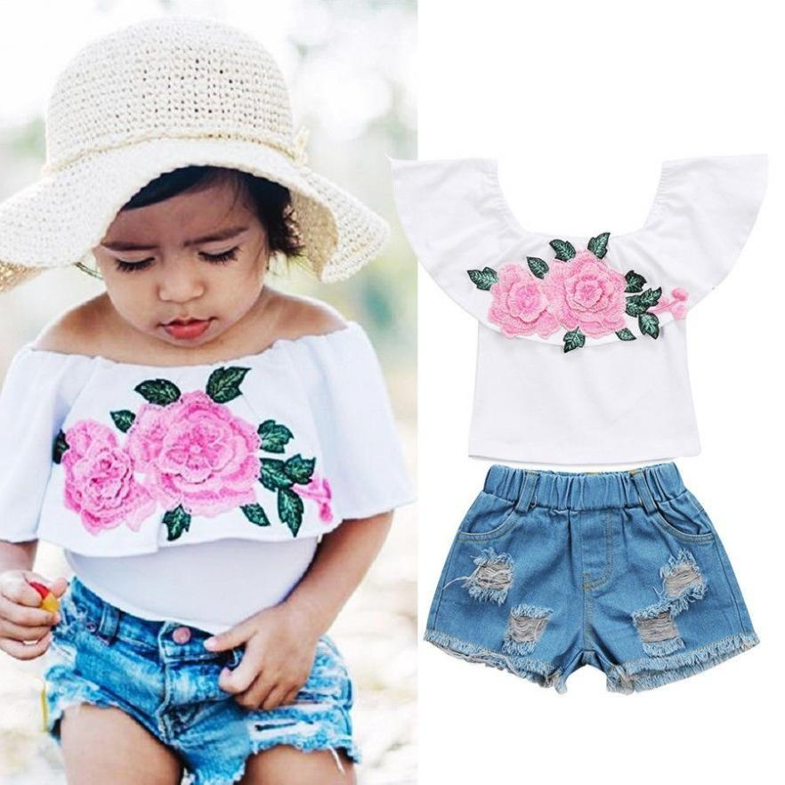 Floral Newborn Infant Baby Girl 2pcs Summer Clothes Tops Shorts Pants Outfits UK