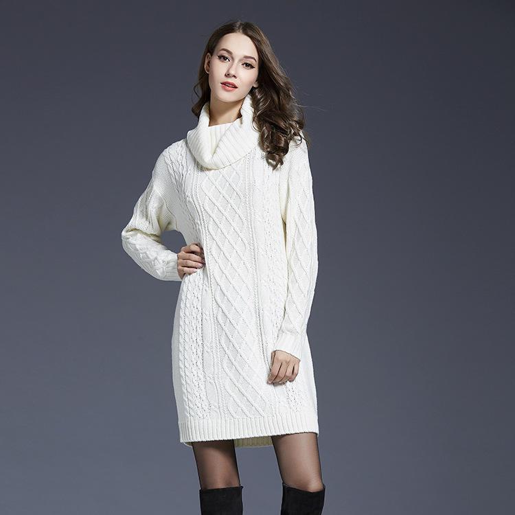 Invierno mujer ropa grande tamaño Vestido de cuello alto suéter de ...