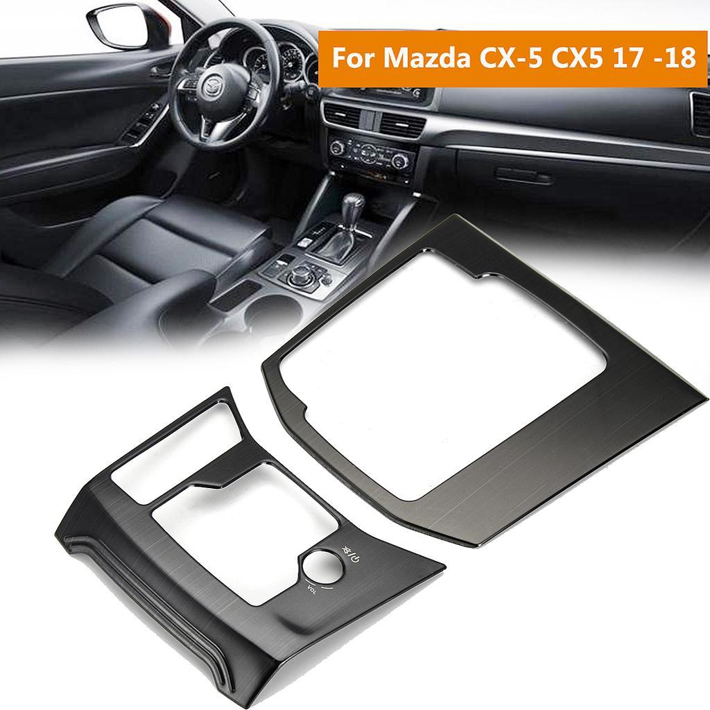 Titanium Interior Gear Shift Frame Cover Trim For Mazda CX5 CX-5 2017 2018 Black