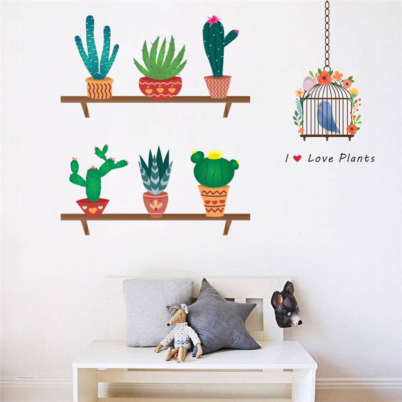 Cactus Pot Flower Plants Window Decal Wall Sticker Mural Bedroom Home Decor DIY