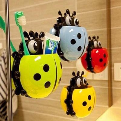 HooMALL 1pc Ladybug Toothpaste Holder Suction Hooks Bathroom Toothbrush Rack