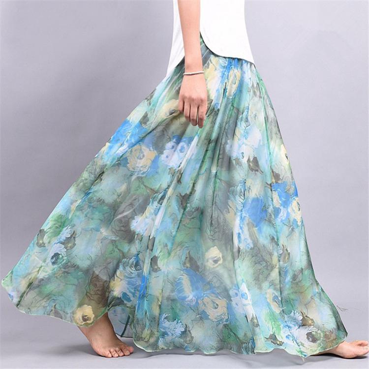 Женщин Chiffon половина долго большой все матч разноцветные Большие цветочные дамы маятник длинная юбка леди фото