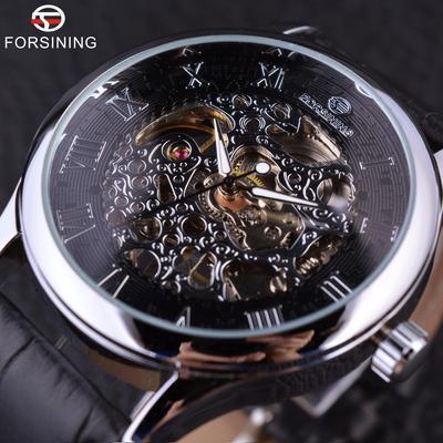 ae84710795da Forsining Retro diseño Casual Retro número romano pantalla reloj esqueleto  mecánico plata negro hombres