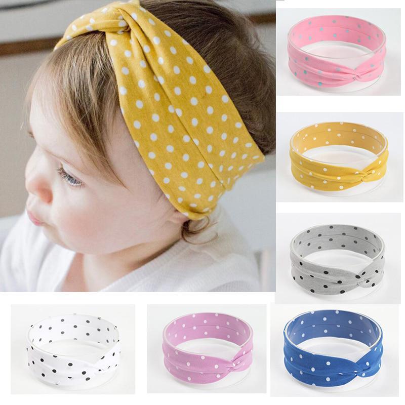 Хлопок Baby Girl Повязки Cute Dot Волос Band Bows Turban Headdress Haarband