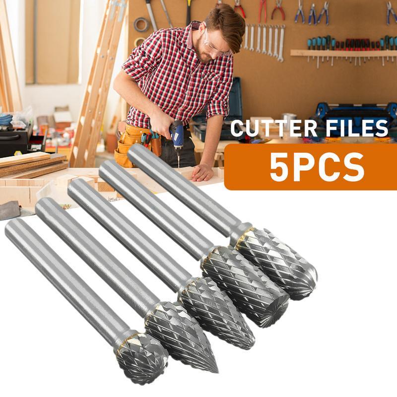 5x Rotary Burrs Cutter File CNC Engraving Cut 1//4 Tungsten Carbide 6mm Shank