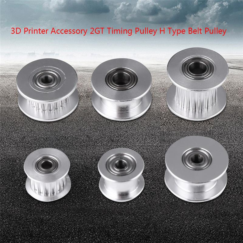5Pcs Synchronous Pulley,3D Printer Accessories 2GT Aluminum Timing Belt Pulley Wheel 20 Tooth 5mm Bore Without Teeth for Belt Width 10mm