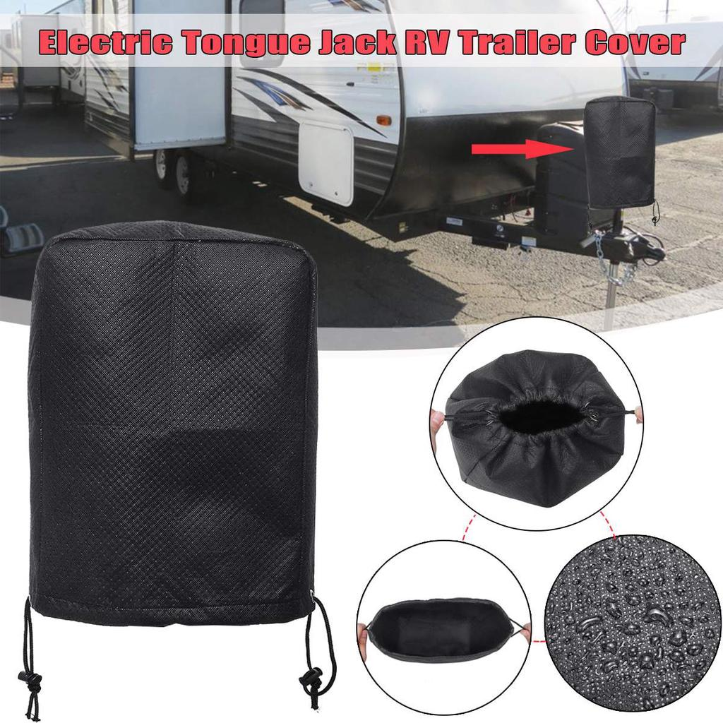 Universal Black RV Electric Tongue Jack Cover Protector for Travel Motorhome Trailer for Camper Wat